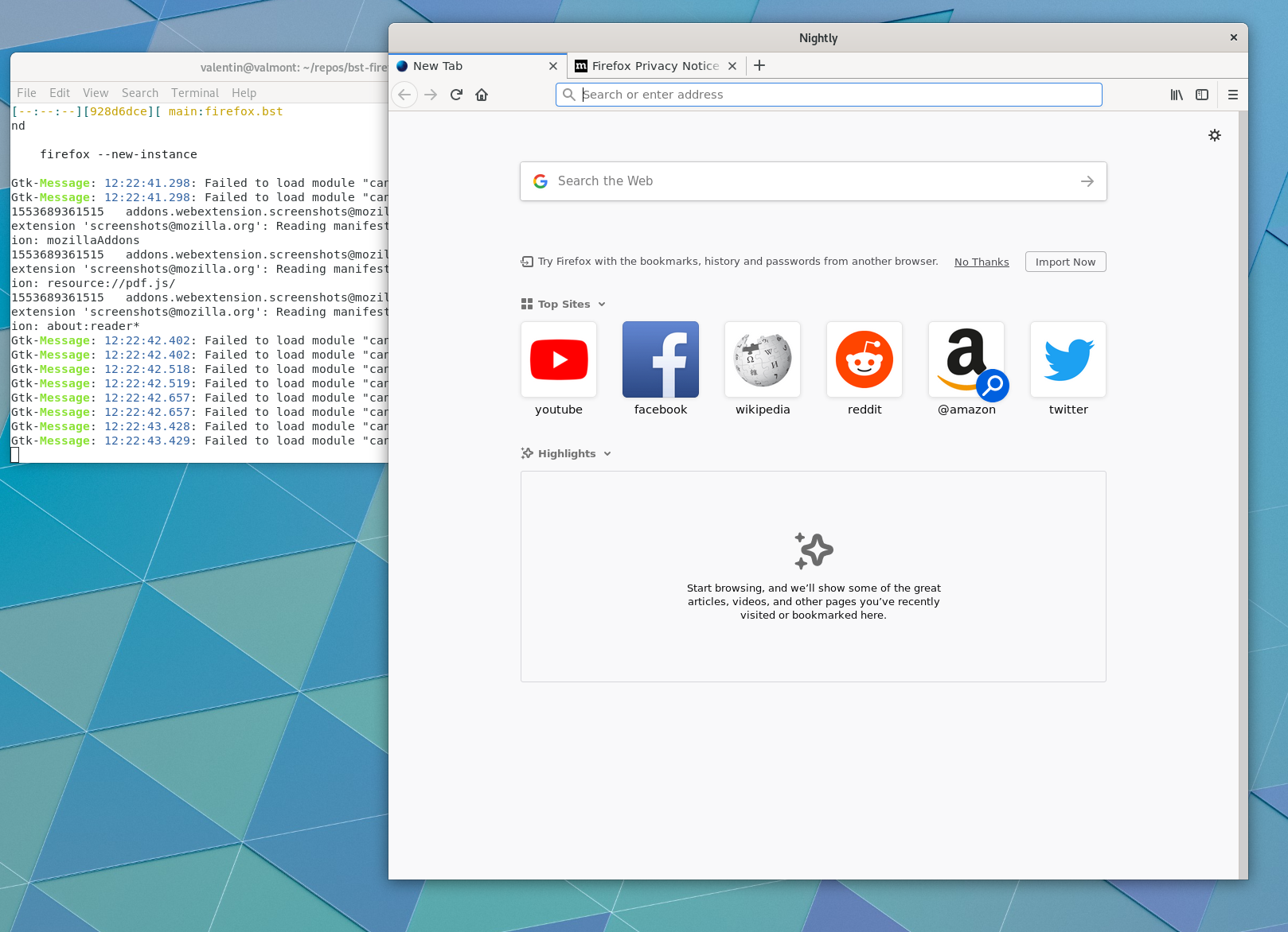 "Firefox on ""bst shell"""